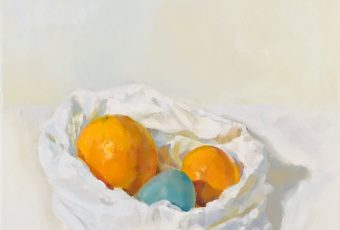 An Orange, a Tangerine and a Wooden egg